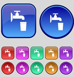 Faucet glass water icon sign a set of twelve vector