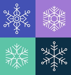 Snowflake line style set vector