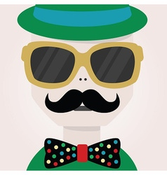 Abstract close up of hipster male face icon vector