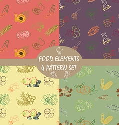 Food elements pattern set vector