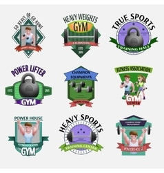 Heavy weights fitness emblems set vector