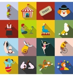 Circus flat icons set vector