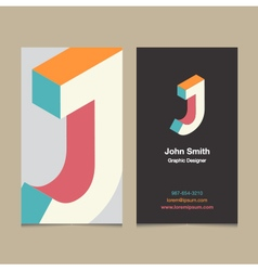 Business card letter j vector