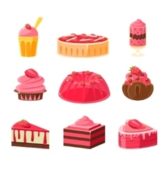 Strawberry sweets set vector