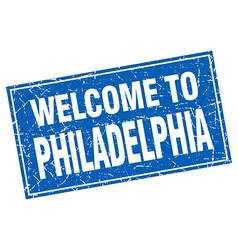 Philadelphia blue square grunge welcome to stamp vector