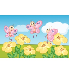 Flower field butterflies vector