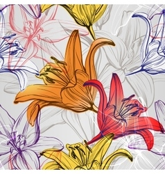 Abstract floral blooming lilies background texture vector