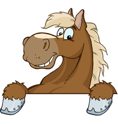 Brown horse over a sign vector