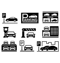 Car on parking icons vector
