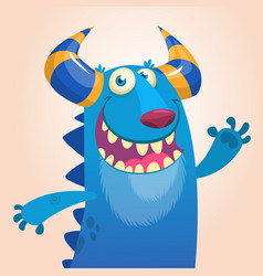 Cartoon portrait of smiling blue monster dragon vector
