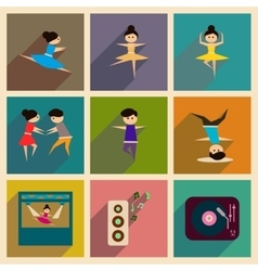 Concept of flat icons with long shadow dancing vector