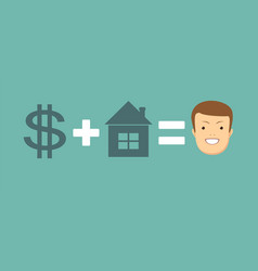 Concept of money and home brings you happiness vector