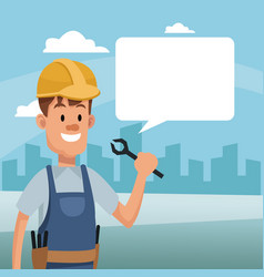 Construction man holding tool and bubble speech vector