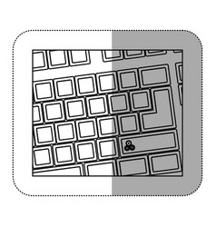 Contour computer keyboard with gear symbol icon vector