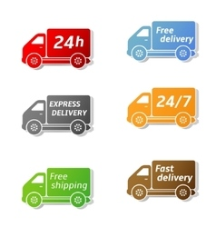 Fast food delivery car icons vector image vector image