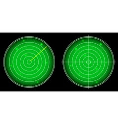 Glowing radar screen with luminous targets vector