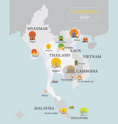 Indochina map with national capital landmarks vector
