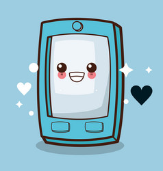 kawaii cellphone emoticon image vector image