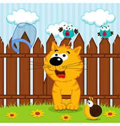 kitten passes through the wooden fence vector image vector image
