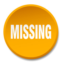 Missing orange round flat isolated push button vector