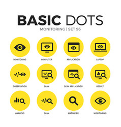 monitoring flat icons set vector image vector image