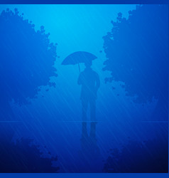 person in the rain vector image vector image