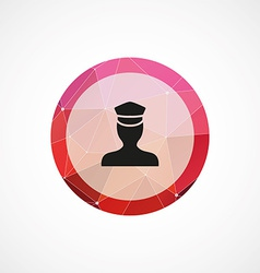 Policeman circle pink triangle background icon vector
