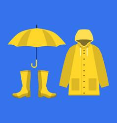 Raincoat rubber boots open umbrella set of vector