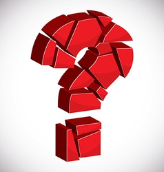 Red sectored 3d question mark on white background vector