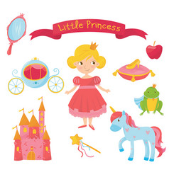 set of princess items girl in dress handle vector image