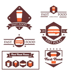 Set of vintage fast food restaurant signs vector image vector image