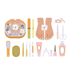 Spa pedicure set vector