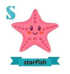 Starfish s letter cute children animal alphabet in vector