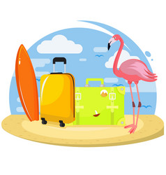 Summer set famingo suitcases surfboard vector