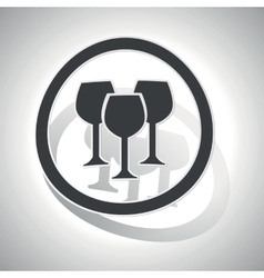 Wine glass sign sticker curved vector