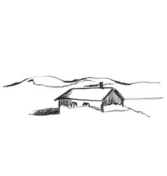 Wood cabins in mountain landscape vector