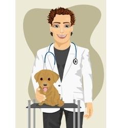 veterinarian making check-up of Labrador puppy vector image