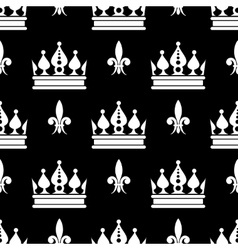 Crowns fleur de lis seamless pattern in vector
