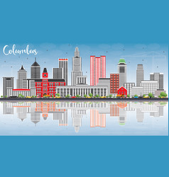 Columbus skyline with gray buildings blue sky and vector