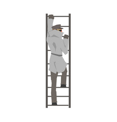 Detective man character climbing on a ladder vector
