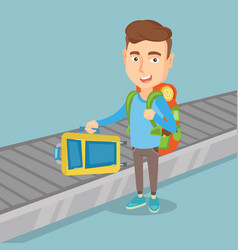 Man takes a suitcase on luggage conveyor belt vector