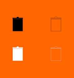 Trash bucket black and white set icon vector