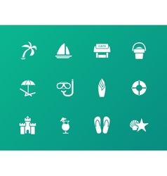 Beach icons on green background vector