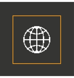 Simple dark pixel icon planet design vector