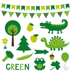 elements in green color vector image