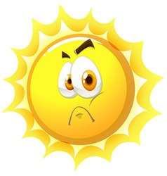 Sun with sad face vector