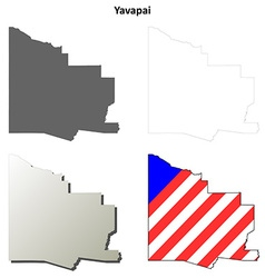 Yavapai county arizona outline map set vector