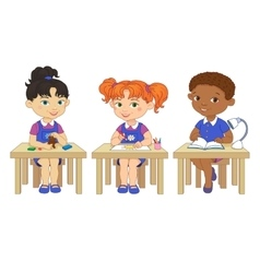 Funny pupils sit on desks read draw clay cartoon vector