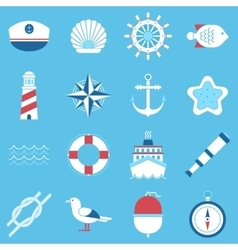 Marine sea icons set vector