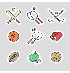 Colorful sport games stickers vector